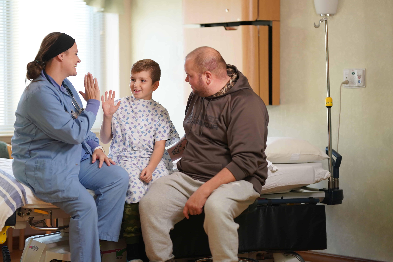 surgery nurse, dad and son